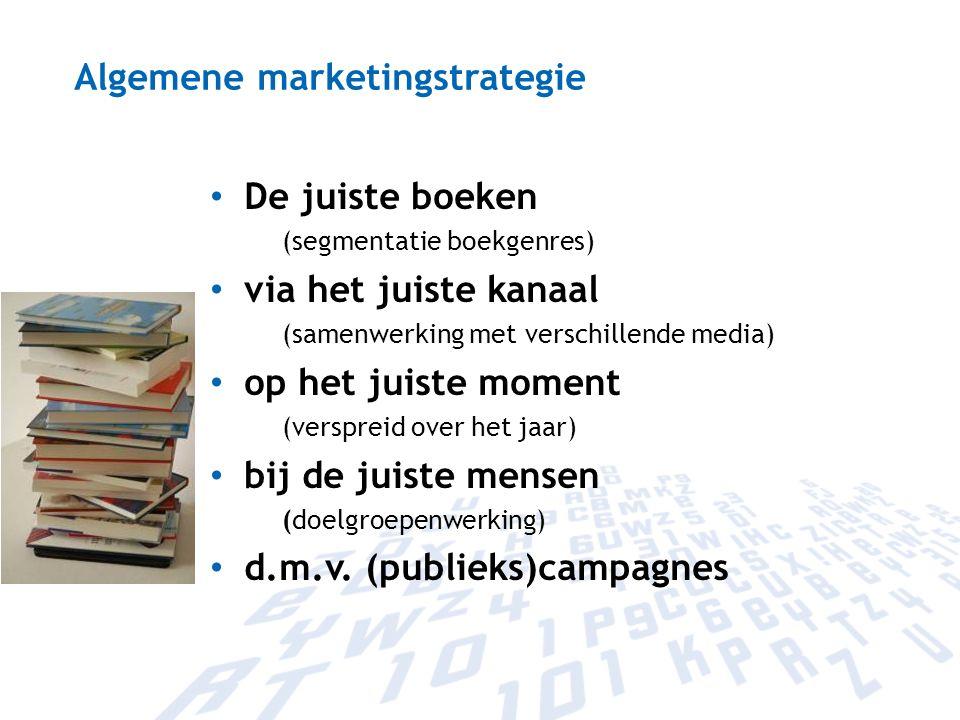 Algemene marketingstrategie De juiste boeken (segmentatie boekgenres) via het juiste kanaal (samenwerking met verschillende media) op het juiste momen
