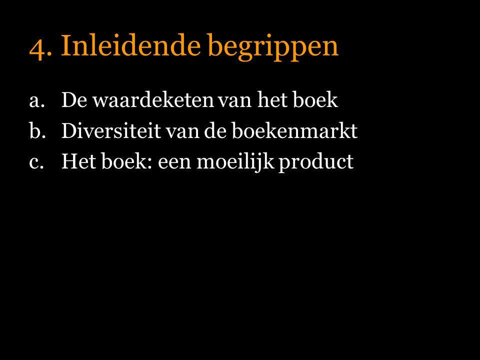 4. Inleidende begrippen a.De waardeketen van het boek b.Diversiteit van de boekenmarkt c.Het boek: een moeilijk product
