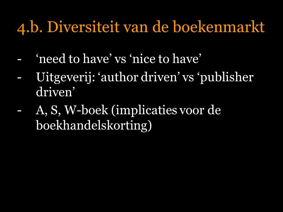 4.b. Diversiteit van de boekenmarkt -'need to have' vs 'nice to have' -Uitgeverij: 'author driven' vs 'publisher driven' -A, S, W-boek (implicaties vo