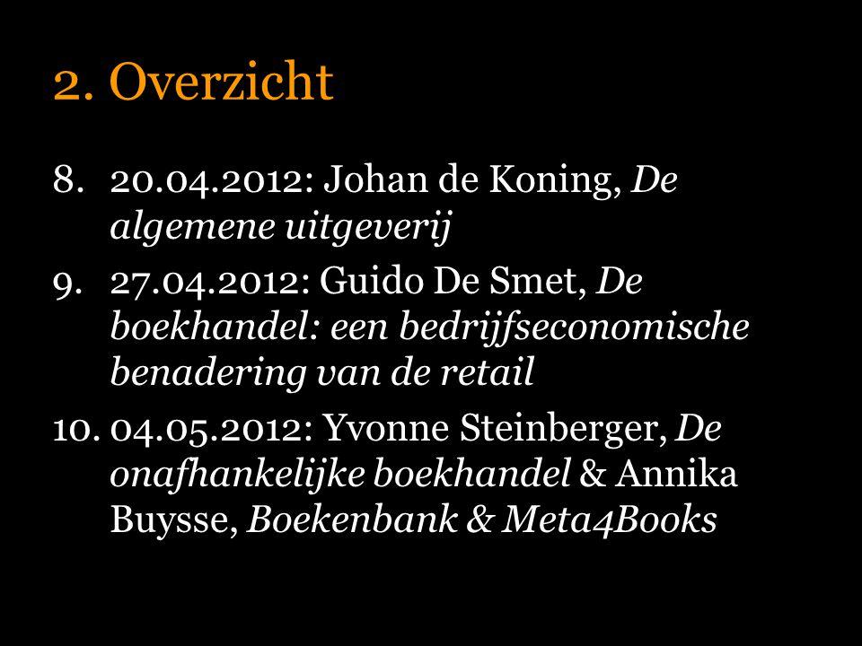 2. Overzicht 8.20.04.2012: Johan de Koning, De algemene uitgeverij 9.27.04.2012: Guido De Smet, De boekhandel: een bedrijfseconomische benadering van