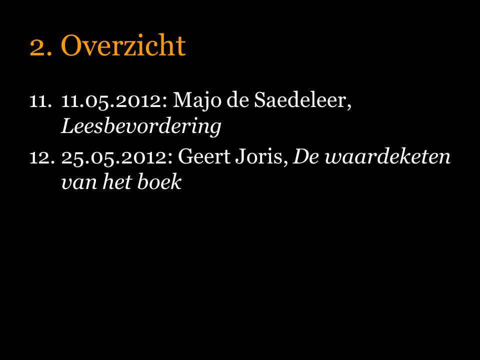 2. Overzicht 11.11.05.2012: Majo de Saedeleer, Leesbevordering 12.25.05.2012: Geert Joris, De waardeketen van het boek
