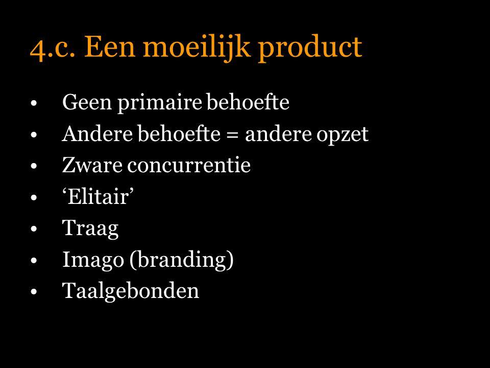 4.c. Een moeilijk product Prijsperceptie Publiciteit Bestselleritis Cijfers