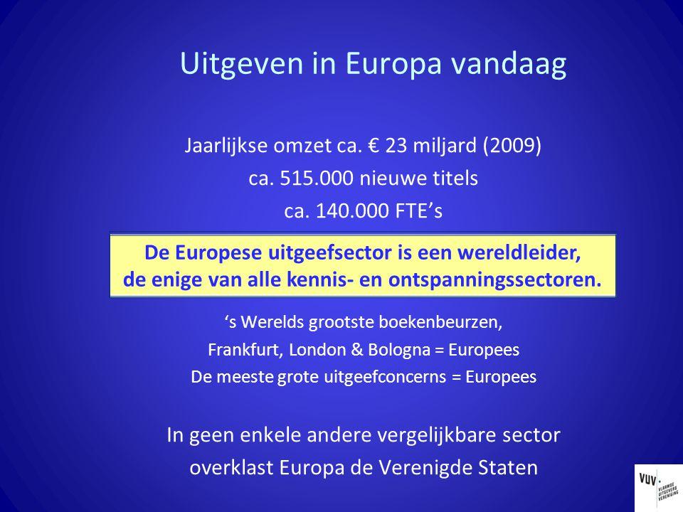 Uitgeven in Europa vandaag Jaarlijkse omzet ca. € 23 miljard (2009) ca. 515.000 nieuwe titels ca. 140.000 FTE's 's 's Werelds grootste boekenbeurzen,