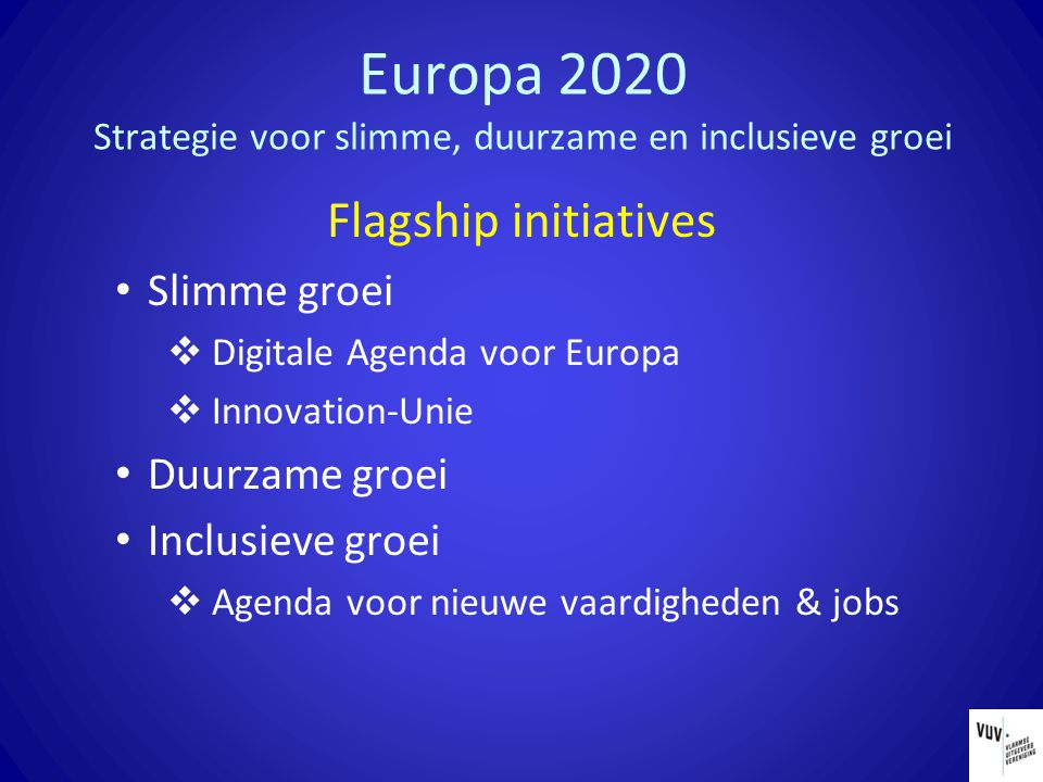 Europa 2020 Strategie voor slimme, duurzame en inclusieve groei Flagship initiatives Slimme groei  Digitale Agenda voor Europa  Innovation-Unie Duurzame groei Inclusieve groei  Agenda voor nieuwe vaardigheden & jobs