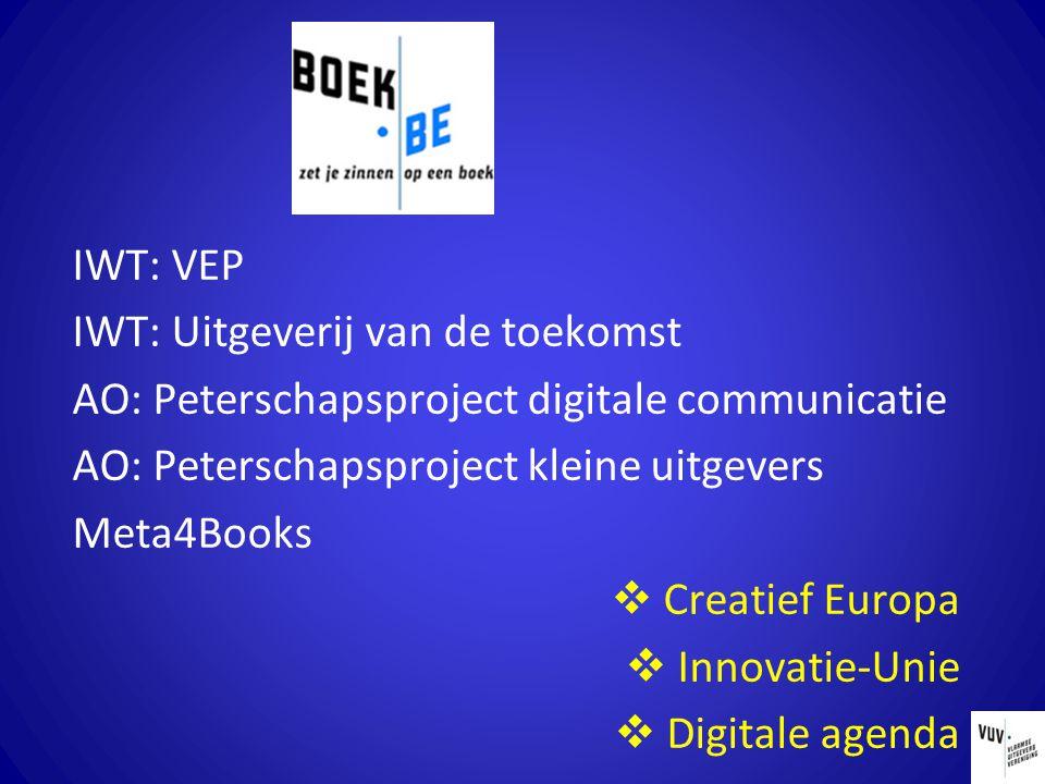 IWT: VEP IWT: Uitgeverij van de toekomst AO: Peterschapsproject digitale communicatie AO: Peterschapsproject kleine uitgevers Meta4Books  Creatief Europa  Innovatie-Unie  Digitale agenda