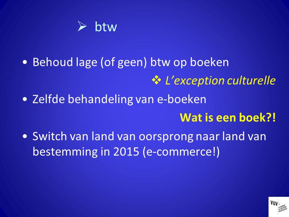  btw Behoud lage (of geen) btw op boeken  L'exception culturelle Zelfde behandeling van e-boeken Wat is een boek?! Switch van land van oorsprong naa
