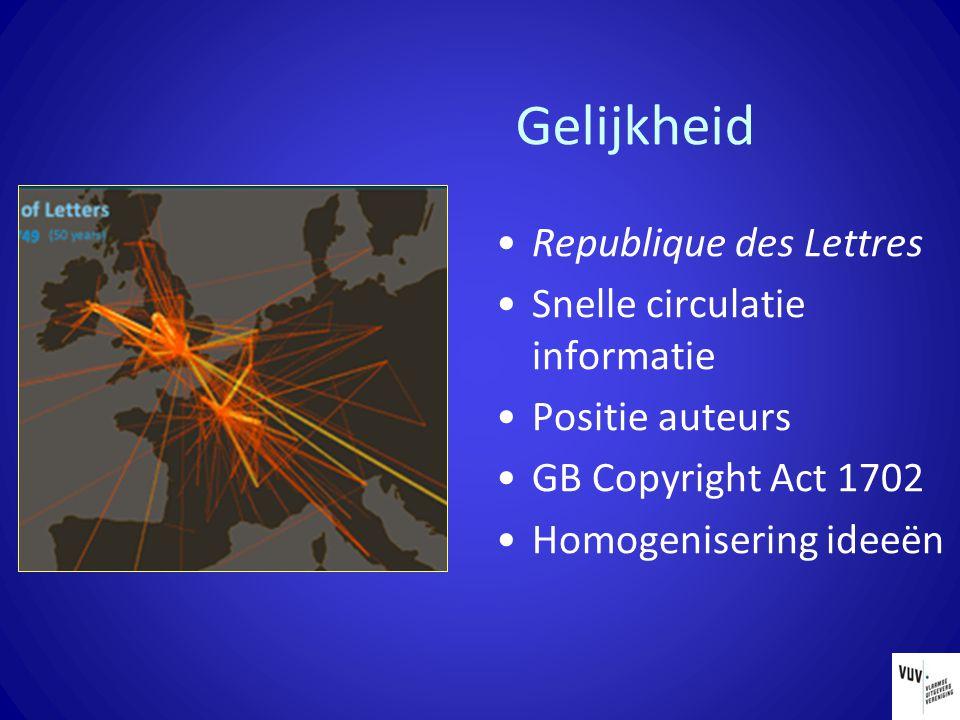 Gelijkheid Republique des Lettres Snelle circulatie informatie Positie auteurs GB Copyright Act 1702 Homogenisering ideeën