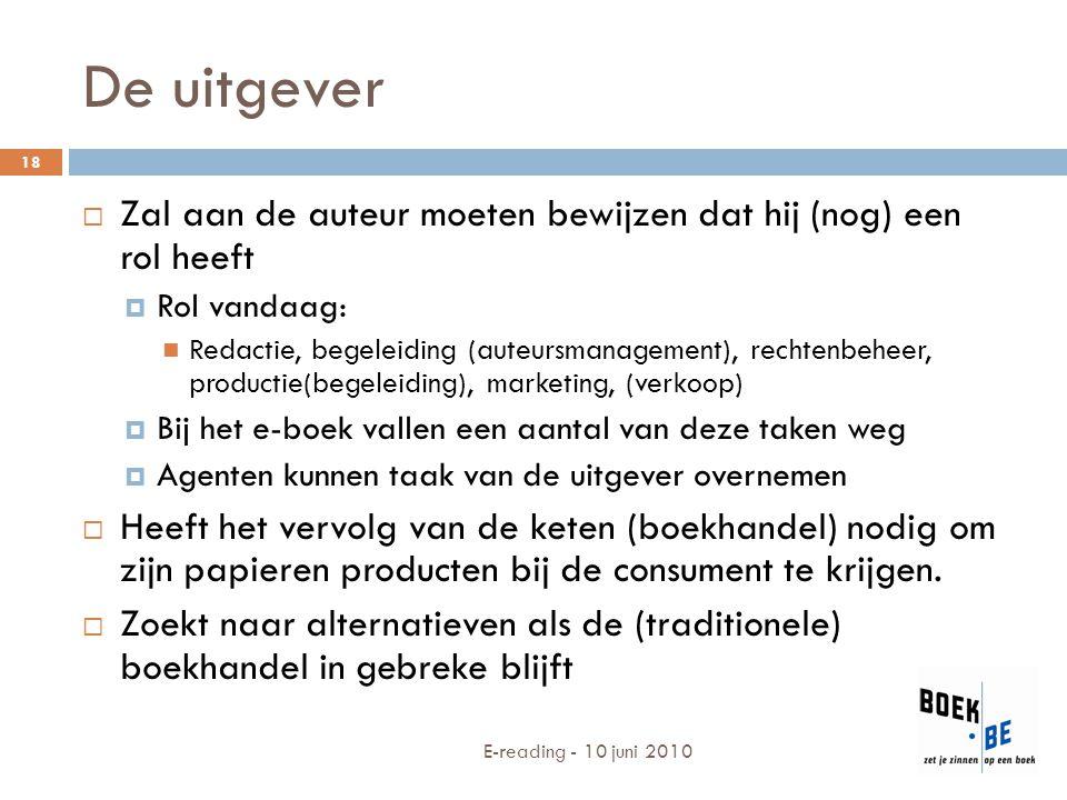 De uitgever  Zal aan de auteur moeten bewijzen dat hij (nog) een rol heeft  Rol vandaag: Redactie, begeleiding (auteursmanagement), rechtenbeheer, p