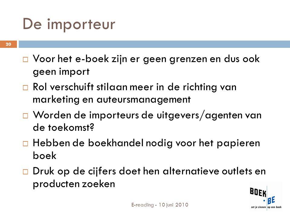 De importeur  Voor het e-boek zijn er geen grenzen en dus ook geen import  Rol verschuift stilaan meer in de richting van marketing en auteursmanage