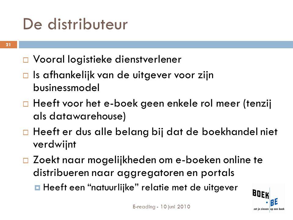 De distributeur  Vooral logistieke dienstverlener  Is afhankelijk van de uitgever voor zijn businessmodel  Heeft voor het e-boek geen enkele rol me
