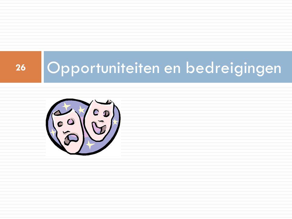 Opportuniteiten en bedreigingen 26