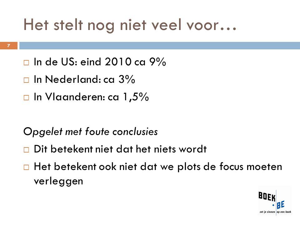 Het stelt nog niet veel voor… 7  In de US: eind 2010 ca 9%  In Nederland: ca 3%  In Vlaanderen: ca 1,5% Opgelet met foute conclusies  Dit betekent