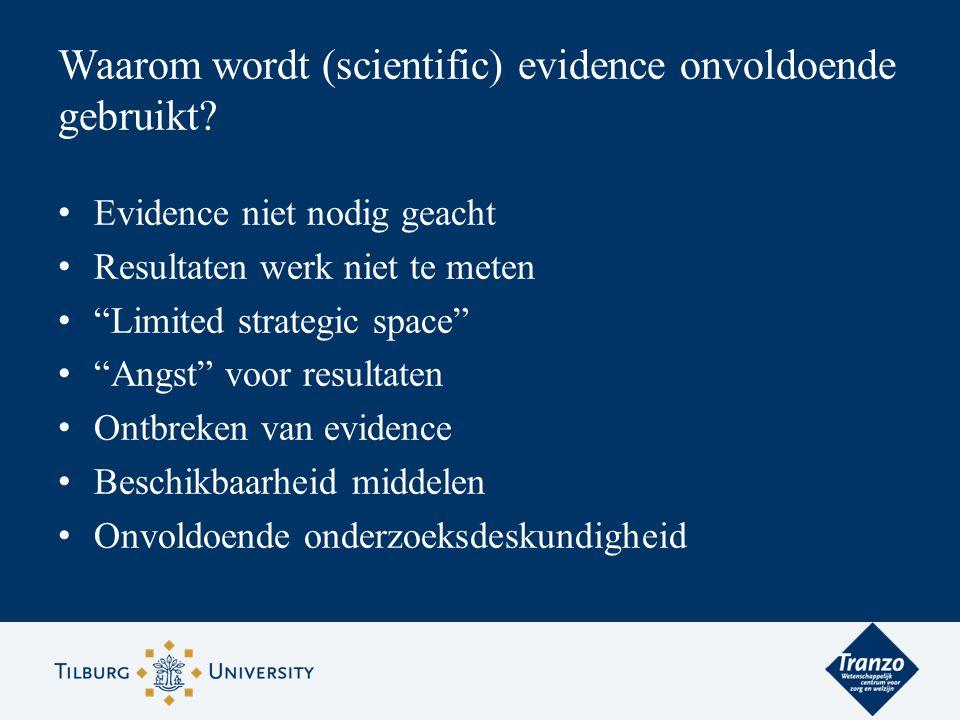 """Evidence niet nodig geacht Resultaten werk niet te meten """"Limited strategic space"""" """"Angst"""" voor resultaten Ontbreken van evidence Beschikbaarheid midd"""