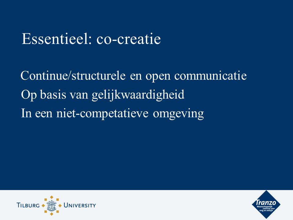 Essentieel: co-creatie Continue/structurele en open communicatie Op basis van gelijkwaardigheid In een niet-competatieve omgeving