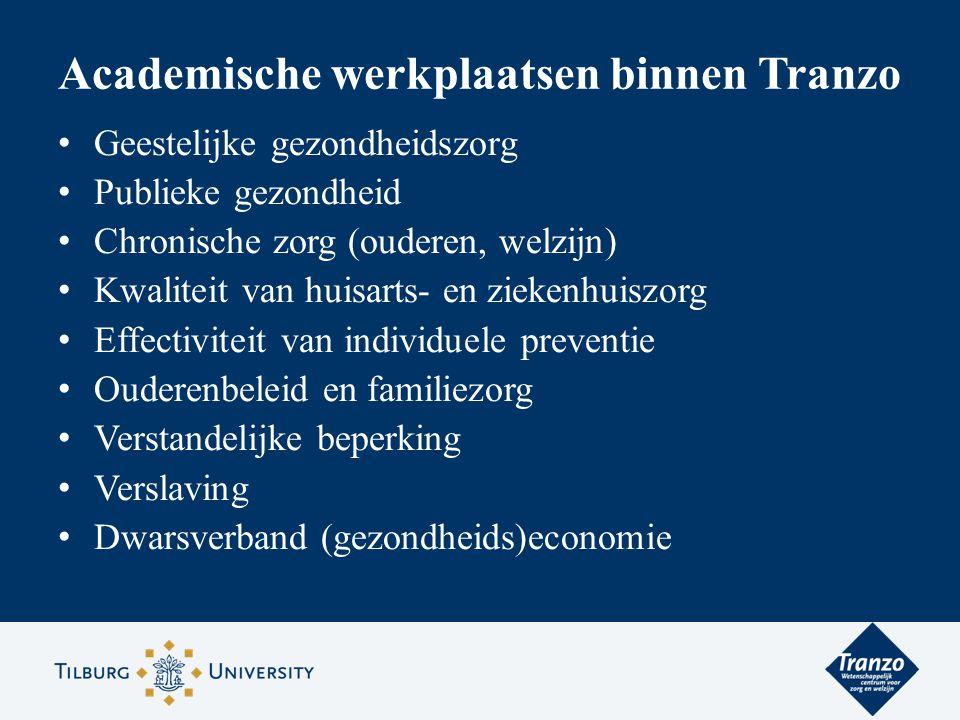 Academische werkplaatsen binnen Tranzo Geestelijke gezondheidszorg Publieke gezondheid Chronische zorg (ouderen, welzijn) Kwaliteit van huisarts- en z