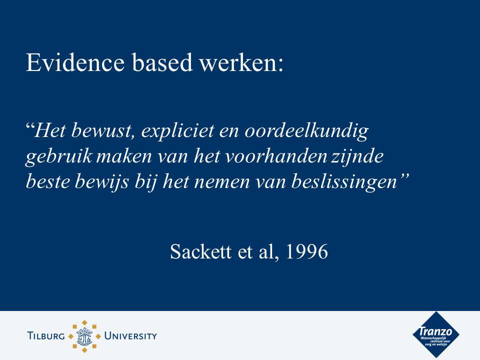 """Evidence based werken: """"Het bewust, expliciet en oordeelkundig gebruik maken van het voorhanden zijnde beste bewijs bij het nemen van beslissingen"""" Sa"""