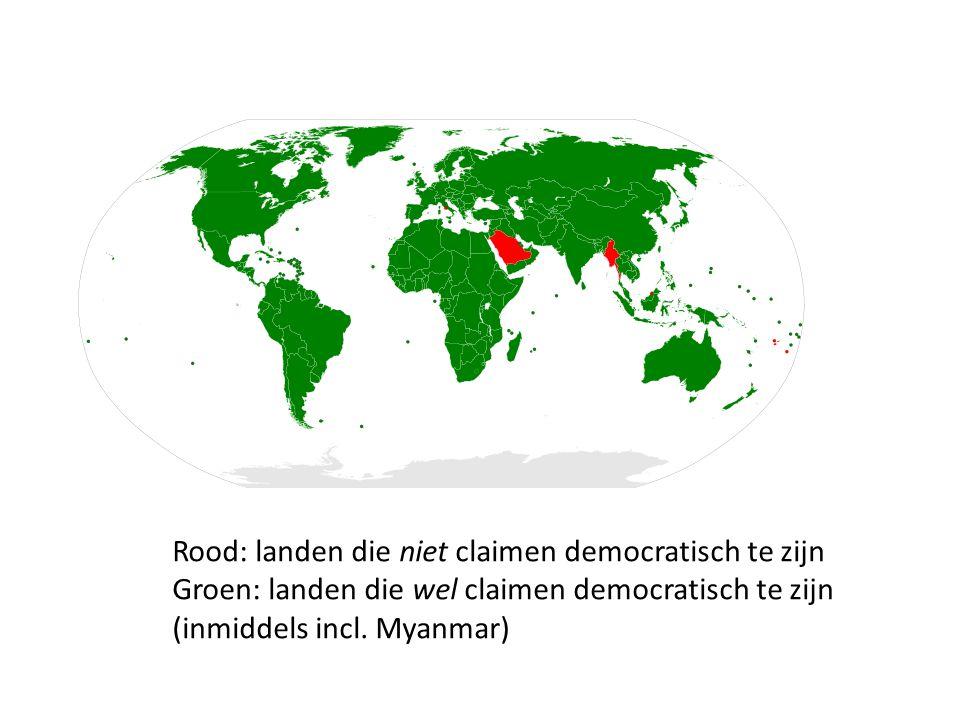 Rood: landen die niet claimen democratisch te zijn Groen: landen die wel claimen democratisch te zijn (inmiddels incl.