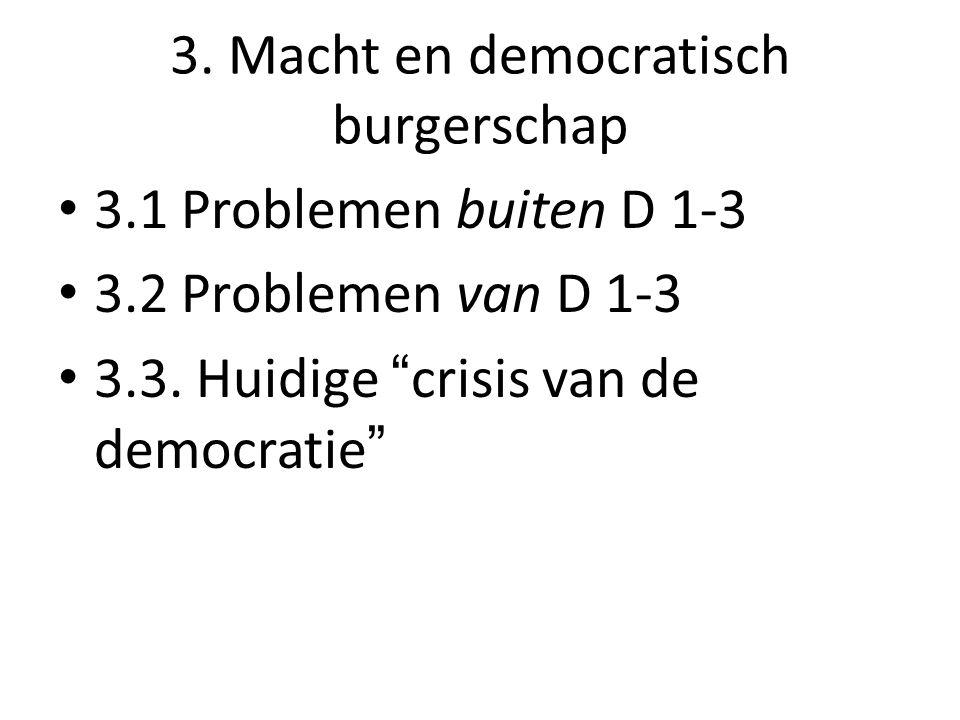 3.Macht en democratisch burgerschap 3.1 Problemen buiten D 1-3 3.2 Problemen van D 1-3 3.3.