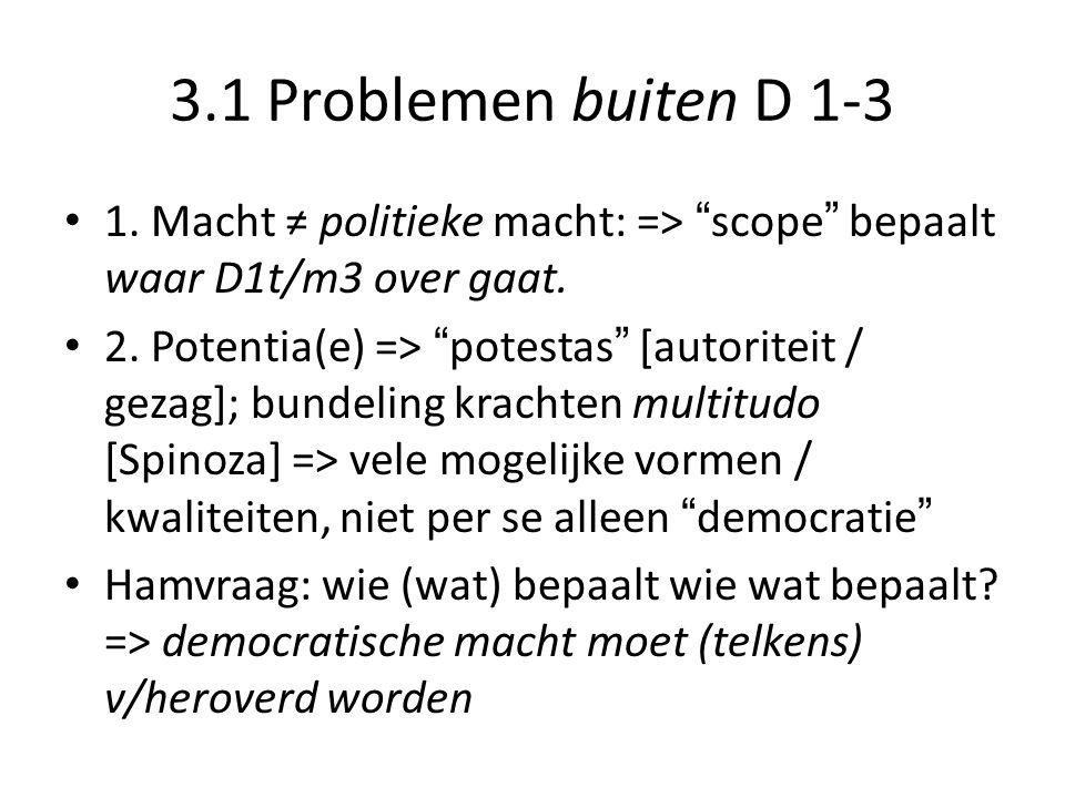 3.1 Problemen buiten D 1-3 1.Macht ≠ politieke macht: => scope bepaalt waar D1t/m3 over gaat.