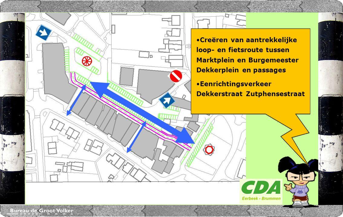 CENTRUMPLAN BRUMMEN Creëren van aantrekkelijke loop- en fietsroute tussen Marktplein en Burgemeester Dekkerplein en passages Eenrichtingsverkeer Dekke