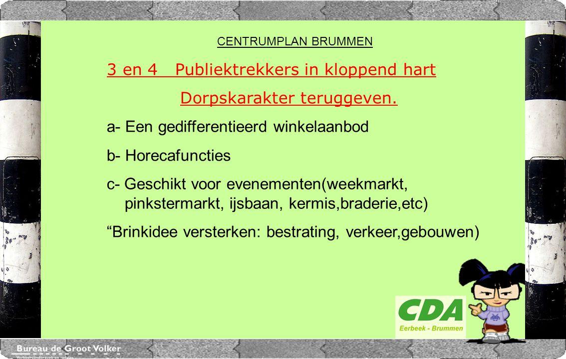CENTRUMPLAN BRUMMEN 3 en 4 Publiektrekkers in kloppend hart Dorpskarakter teruggeven. a- Een gedifferentieerd winkelaanbod b- Horecafuncties c- Geschi