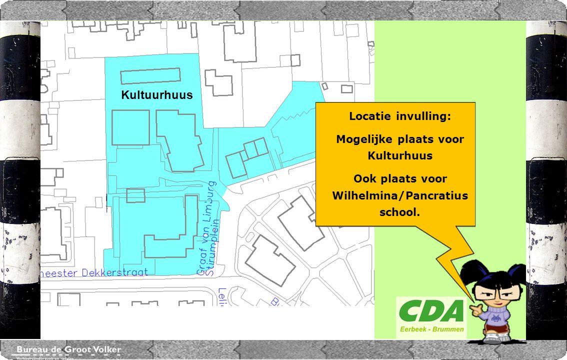 CENTRUMPLAN BRUMMEN Locatie invulling: Mogelijke plaats voor Kulturhuus Ook plaats voor Wilhelmina/Pancratius school. Kultuurhuus