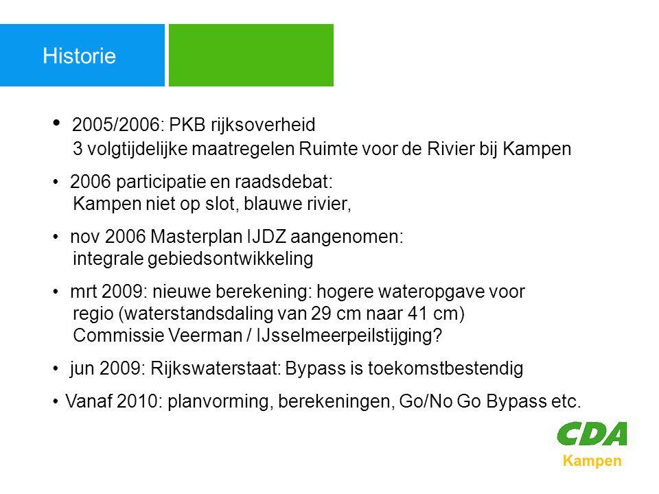 Enkele besluiten Agenda 26-05-2005 Raadsbesluit strategisch document Kampen 2030 blauwe variant (aangenomen 24 voor 3 tegen) 07-07-2005 Kaderstelling IJsseldelta Zuid (aangenomen 25 voor 2 tegen) (mede na stadsdebat/burgerparticipatie/'Kamperveense variant' & blauwe bevaarbare variant) 14-8-2006 Unaniem besluit Tweede Kamer over PKB Ruimte voor de Rivier 4 (inclusief drie maatregelen bij Kampen: zomerbedverdieping, hoogwatergeul, Noord) 02-11-06 Raadsvoorstel Masterplan IJsseldelta-Zuid.
