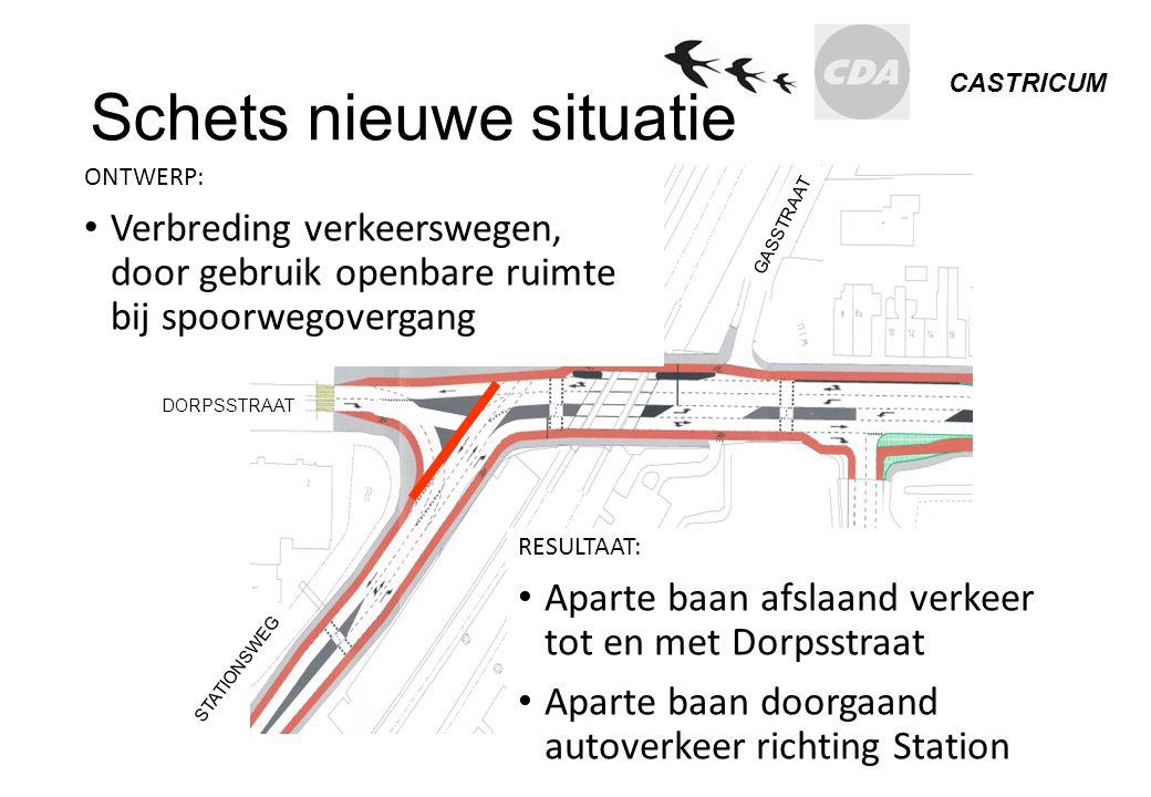 CASTRICUM Schets nieuwe situatie RESULTAAT: Aparte baan afslaand verkeer tot en met Dorpsstraat Aparte baan doorgaand autoverkeer richting Station DOR
