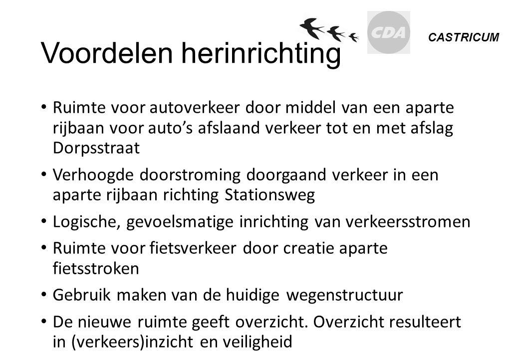 CASTRICUM Voordelen herinrichting Ruimte voor autoverkeer door middel van een aparte rijbaan voor auto's afslaand verkeer tot en met afslag Dorpsstraa