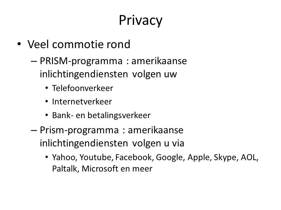 Privacy Veel commotie rond – PRISM-programma : amerikaanse inlichtingendiensten volgen uw Telefoonverkeer Internetverkeer Bank- en betalingsverkeer –