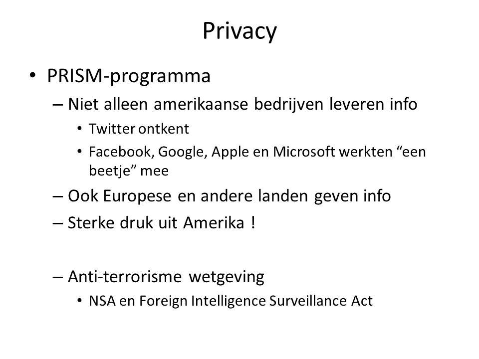 Privacy PRISM-programma – Niet alleen amerikaanse bedrijven leveren info Twitter ontkent Facebook, Google, Apple en Microsoft werkten een beetje mee – Ook Europese en andere landen geven info – Sterke druk uit Amerika .