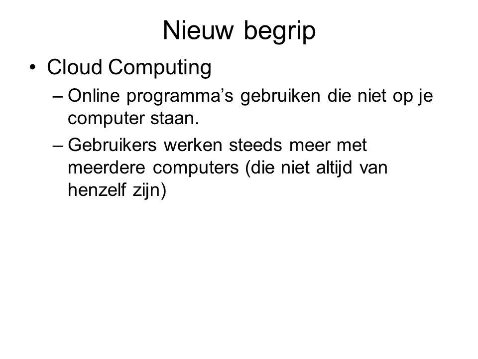 Nieuw begrip Cloud Computing –Online programma's gebruiken die niet op je computer staan.