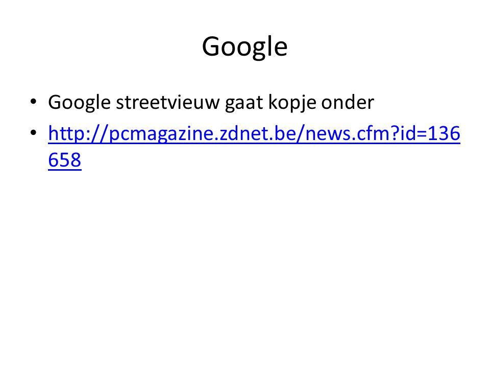 Google Google streetvieuw gaat kopje onder http://pcmagazine.zdnet.be/news.cfm id=136 658 http://pcmagazine.zdnet.be/news.cfm id=136 658