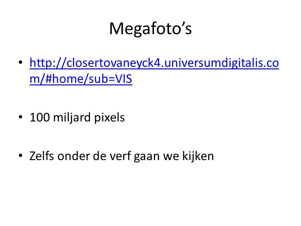 Megafoto's http://closertovaneyck4.universumdigitalis.co m/#home/sub=VIS http://closertovaneyck4.universumdigitalis.co m/#home/sub=VIS 100 miljard pixels Zelfs onder de verf gaan we kijken