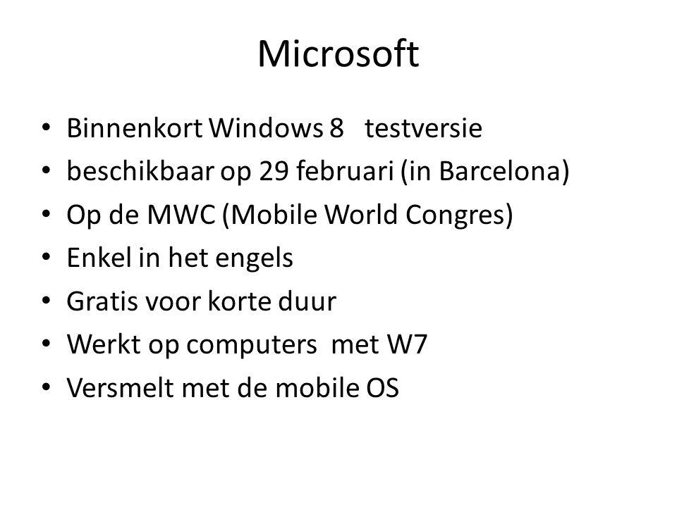Microsoft Binnenkort Windows 8 testversie beschikbaar op 29 februari (in Barcelona) Op de MWC (Mobile World Congres) Enkel in het engels Gratis voor korte duur Werkt op computers met W7 Versmelt met de mobile OS