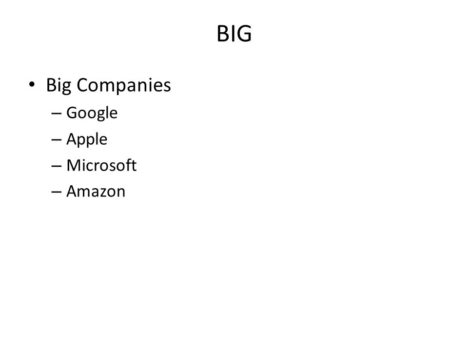 BIG Big Companies – Google – Apple – Microsoft – Amazon