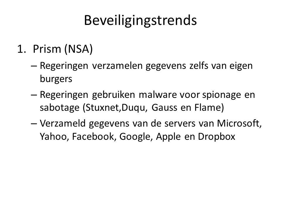 Beveiligingstrends 1.Prism (NSA) – Regeringen verzamelen gegevens zelfs van eigen burgers – Regeringen gebruiken malware voor spionage en sabotage (Stuxnet,Duqu, Gauss en Flame) – Verzameld gegevens van de servers van Microsoft, Yahoo, Facebook, Google, Apple en Dropbox