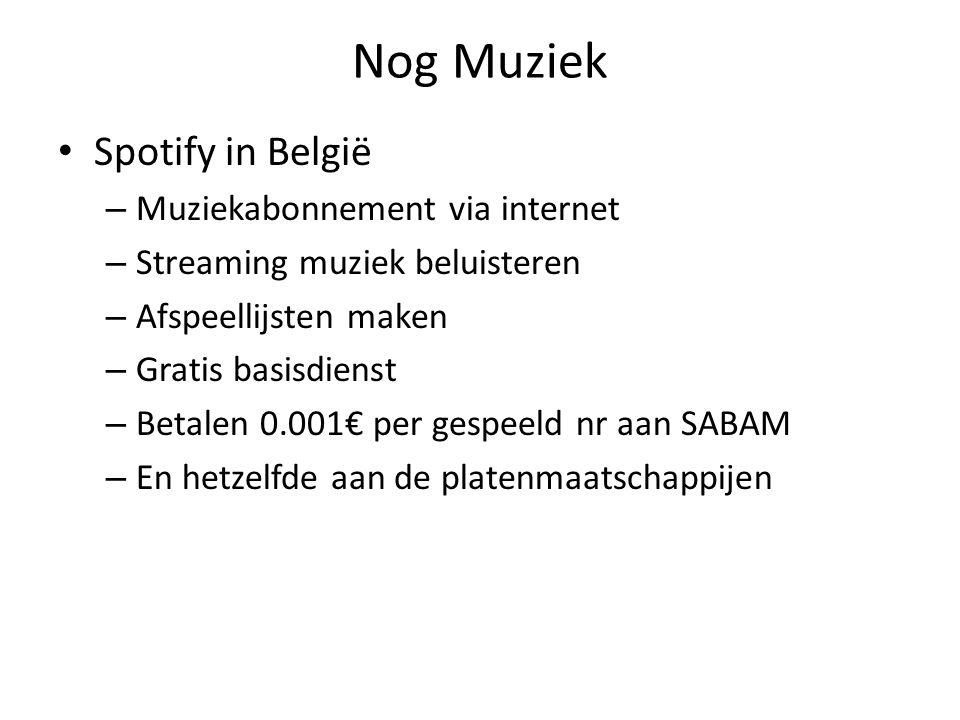 Nog Muziek Spotify in België – Muziekabonnement via internet – Streaming muziek beluisteren – Afspeellijsten maken – Gratis basisdienst – Betalen 0.001€ per gespeeld nr aan SABAM – En hetzelfde aan de platenmaatschappijen