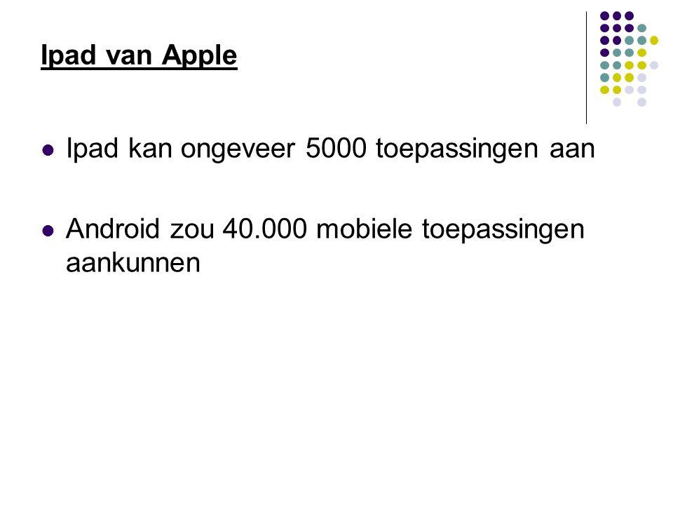 Ipad van Apple Ipad kan ongeveer 5000 toepassingen aan Android zou 40.000 mobiele toepassingen aankunnen