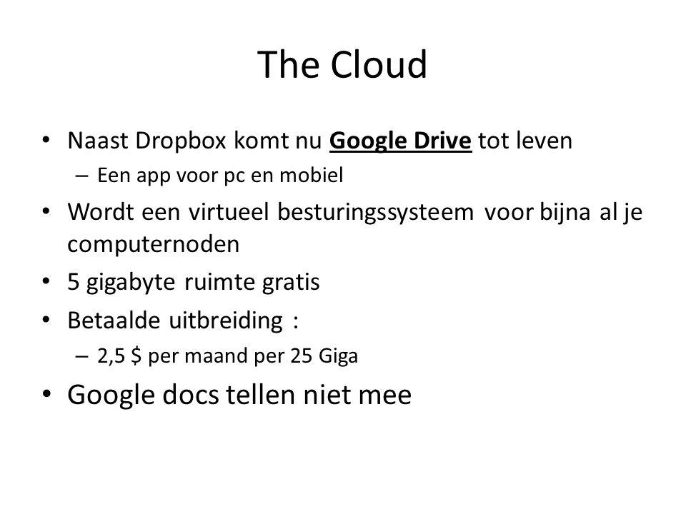 The Cloud Naast Dropbox komt nu Google Drive tot leven – Een app voor pc en mobiel Wordt een virtueel besturingssysteem voor bijna al je computernoden 5 gigabyte ruimte gratis Betaalde uitbreiding : – 2,5 $ per maand per 25 Giga Google docs tellen niet mee