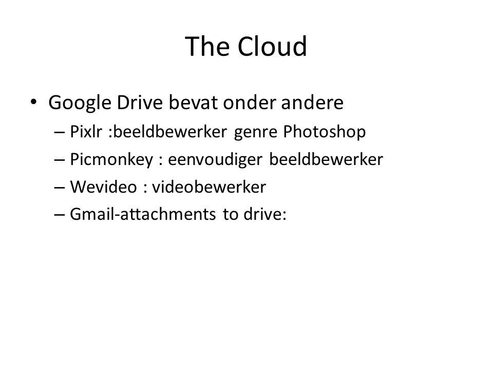The Cloud Google Drive bevat onder andere – Pixlr :beeldbewerker genre Photoshop – Picmonkey : eenvoudiger beeldbewerker – Wevideo : videobewerker – Gmail-attachments to drive:
