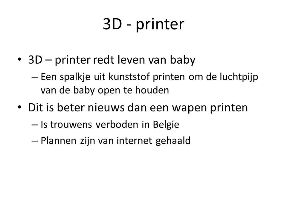 3D - printer 3D – printer redt leven van baby – Een spalkje uit kunststof printen om de luchtpijp van de baby open te houden Dit is beter nieuws dan een wapen printen – Is trouwens verboden in Belgie – Plannen zijn van internet gehaald