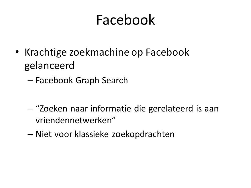 Facebook Krachtige zoekmachine op Facebook gelanceerd – Facebook Graph Search – Zoeken naar informatie die gerelateerd is aan vriendennetwerken – Niet voor klassieke zoekopdrachten