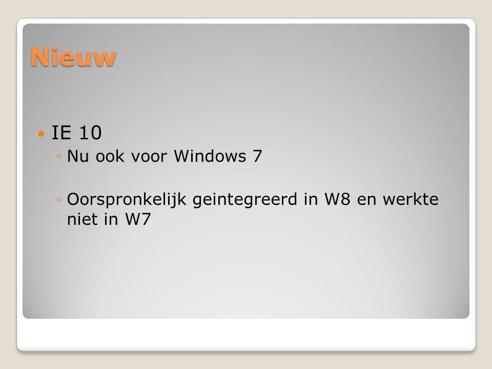 Nieuw IE 10 ◦Nu ook voor Windows 7 ◦Oorspronkelijk geintegreerd in W8 en werkte niet in W7