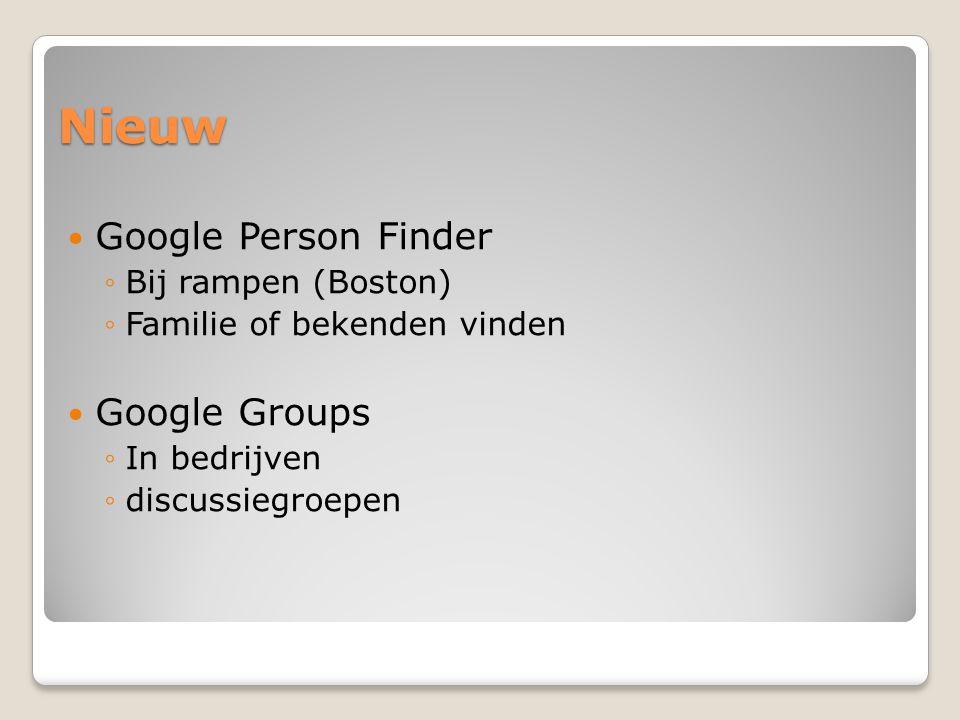 Nieuw Google music ◦http://support.google.com/googleplay/bin/ans wer.py?hl=en&answer=1229970http://support.google.com/googleplay/bin/ans wer.py?hl=en&answer=1229970 Google bril ◦http://www.google.be/search?source=ig&rlz=& q=google+glasses&oq=google+glasses&gs_l=i google.1.0.0l10.2386.7976.0.9746.14.7.0.7.7.0.88.337.7.7.0...0.0...1ac.1.G1Vn1Pi6nOkhttp://www.google.be/search?source=ig&rlz=& q=google+glasses&oq=google+glasses&gs_l=i google.1.0.0l10.2386.7976.0.9746.14.7.0.7.7.0.88.337.7.7.0...0.0...1ac.1.G1Vn1Pi6nOk