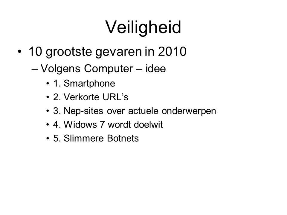 Veiligheid 10 grootste gevaren in 2010 –Volgens Computer – idee 1. Smartphone 2. Verkorte URL's 3. Nep-sites over actuele onderwerpen 4. Widows 7 word