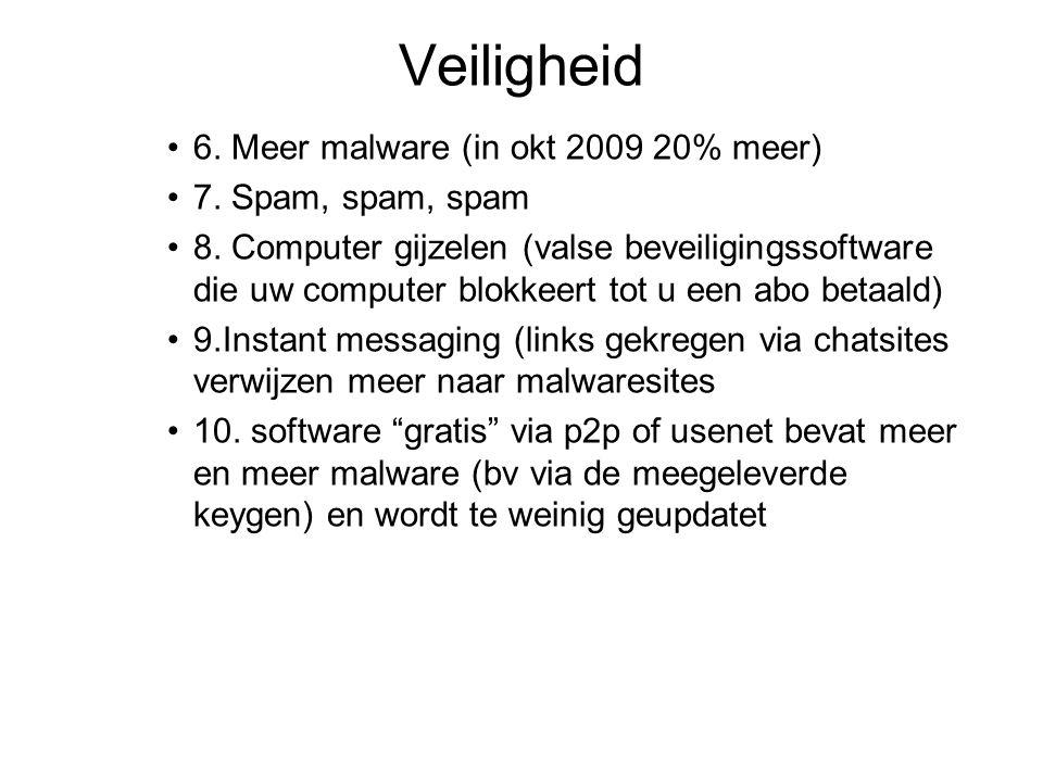 Veiligheid 6. Meer malware (in okt 2009 20% meer) 7. Spam, spam, spam 8. Computer gijzelen (valse beveiligingssoftware die uw computer blokkeert tot u