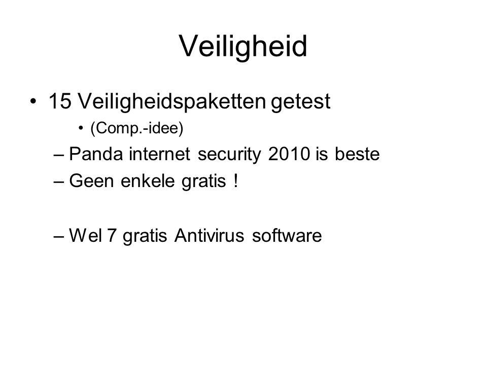 Veiligheid 15 Veiligheidspaketten getest (Comp.-idee) –Panda internet security 2010 is beste –Geen enkele gratis ! –Wel 7 gratis Antivirus software