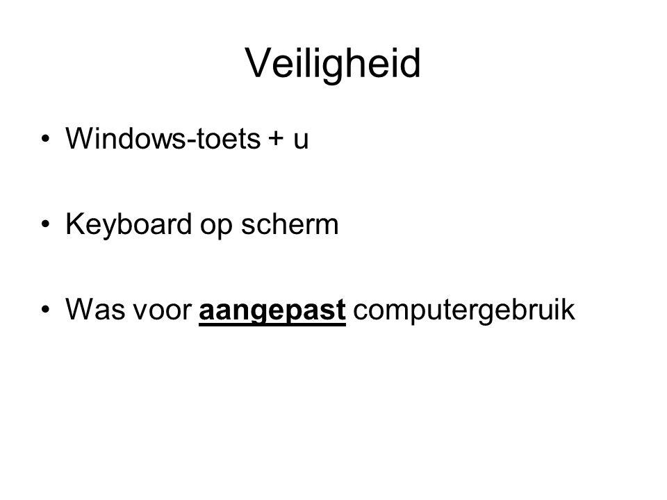 Veiligheid Windows-toets + u Keyboard op scherm Was voor aangepast computergebruik
