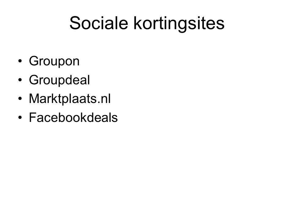 Sociale kortingsites Groupon Groupdeal Marktplaats.nl Facebookdeals